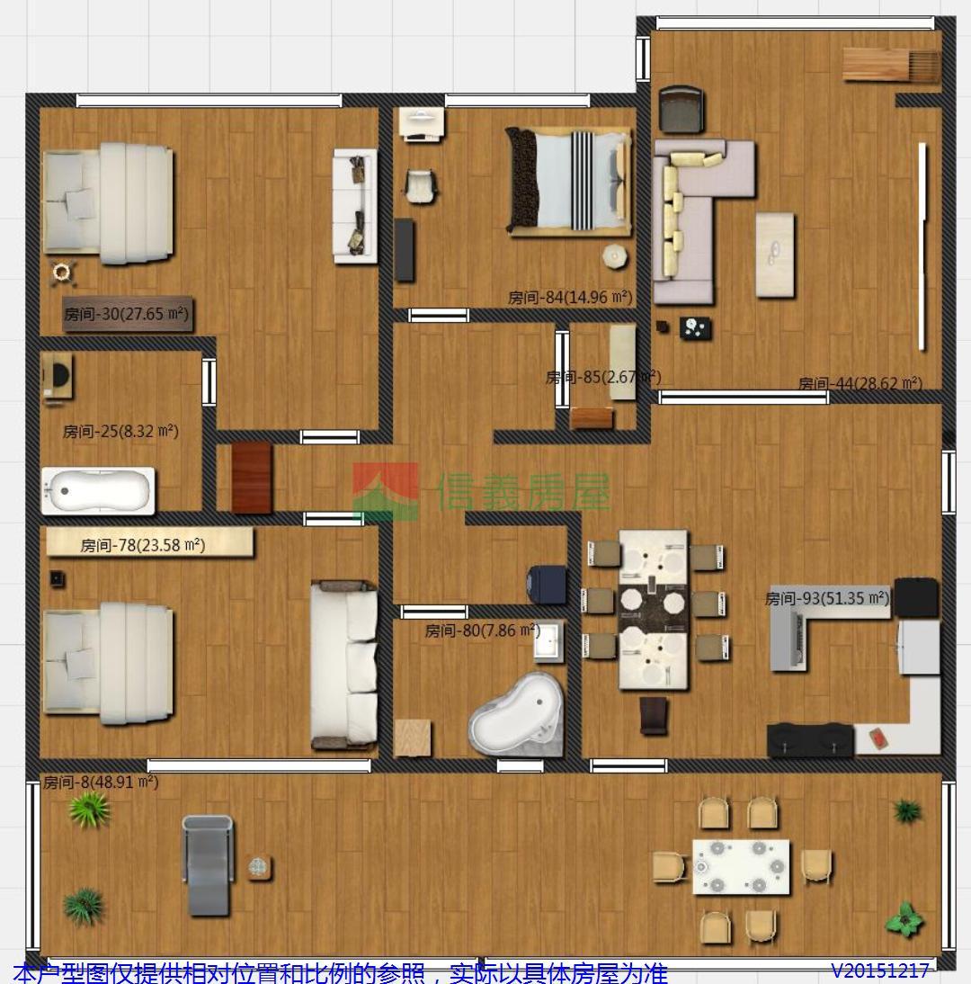 三间房子设计图平面图